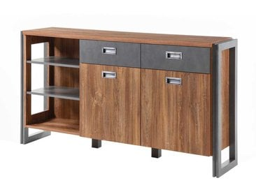 Schlafzimmer Sideboard in Eiche dunkel Schiefer Grau Loft Design