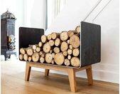 Kaminholzregal aus Zunderstahl 60 x 34 x 47 cm Hochwertiges Design Brennholzregal für Innen Made in Germany