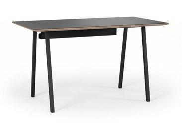 Design Schreibtisch OSKAR Linoleum in Schwarz mit Kabelkanal. Schwarze Linoleumplatte 130x70 cm. Hochwertiger Schreibtisch handgemacht in DE.
