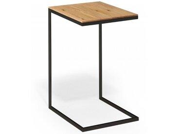Beistelltisch JANO 65 cm hoch  Wildeiche Massivholz mit schwarzem Metallgestell. Made in Germany
