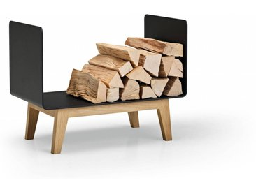 Brennholzregal FERRA für Innen. Kaminholzregal aus schwarzem Metall und Eiche Massivholz für das Wohnzimmer. 60 cm breit. Made in Germany