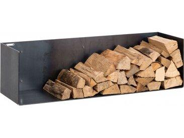 Kaminholzregal Innen aus Metall. Hochwertiges Design Brennholzregal aus Metall zur Wandbefestigung für das Wohnzimmer. 120cm breit. Handgemacht in DE.