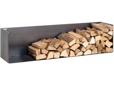 Kaminholzregal Innen aus Metall. Hochwertiges Design Brennholzregal aus Metall zur Wandbefestigung für das Wohnzimmer. 160cm breit. Handgemacht in DE.