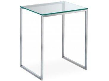 Design Beistelltisch U4 aus Glas und Edelstahl. Filigran. 45x45x55cm Klarglas und Edelstahl gebürstet. Hochwertiger Beistelltisch handgemacht in DE.