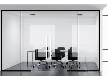 Glastrennwand mit Softclose-Schiebetür System: PIANO