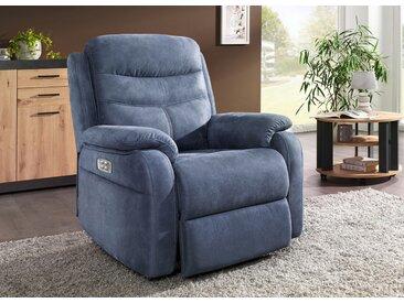 Elektrisch verstellbarer TV-Sessel mit Motor und Aufstehhilfe, Blau-Grau