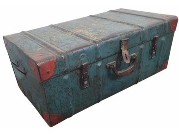Alter Koffer Metall Vintage Metallkoffer alte Kiste Metalllkiste shabby Unika...