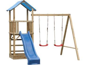 Spielturm  7 inkl. Wellenrutsche und  Doppelschaukel-Anbau - Abmessungen: 295 x 290 cm