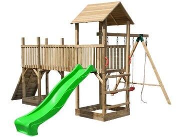 Spielturm-Anlage mit Rutsche, Doppelschaukel und Kletterwand Wild Park