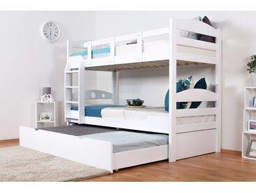 Stockbett für Erwachsene Easy Premium Line K10/h inkl. Liegeplatz und 2 Abdeckblenden, Kopfteil mit Löchern, Buche Vollholz massiv Weiß - Maße: 90 x 200 cm, teilbar