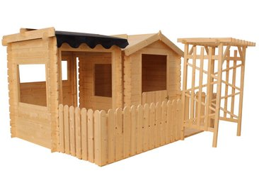 Kinderspielhaus Set Farmers Park - 2,39 x 2,31 Meter aus 13 mm Blockbohlen