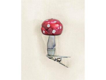 Weihnachtsschmuck Pilz mit rundem Hut - one size - bunt - Glas
