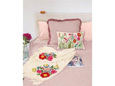 Plaid bestickte Blumen - 150cm x 125cm - Rot/Grün/Blau/Dunkelgrün/Gelb/Weiß - 100 % Baumwolle