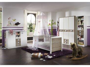 """Babyzimmer-Set """"JALTA"""" 5tlg Bett Wickelkommode Schrank Regal Eiche Sägerau"""