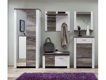 Garderobe Set MATEO1 5-tlg Schrank Paneel Spiegel Kommode Bank weiß Driftwood