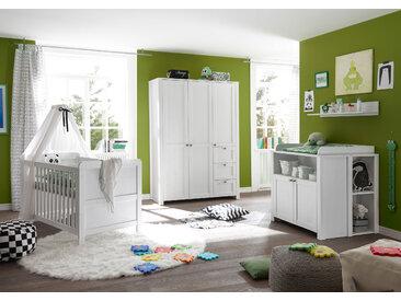 Babyzimmer Set Komplett 4tlg Wickelkommode Bett Regal Schrank 3 Türen Pinie weiß