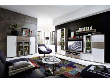 Wohnwand JAM 6 tlg. Wohnzimmer-Set Vitrine Wandboard TV Regal Highboard weiß LED