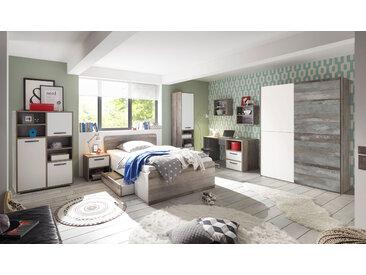 Kinderzimmer MOON Jugendzimmer Komplett-Set 7tlg STSchrank Bett Driftwood weiß