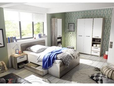 Kinderzimmer MOON Jugendzimmer Set 4tlg Schrank Bett Nako Regal Driftwood weiß