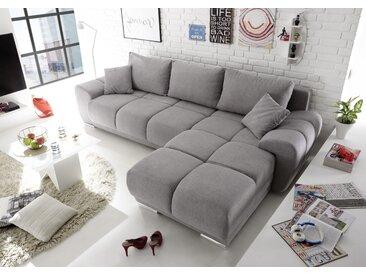 Ecksofa Couch Schlafcouch Schlafsofa Funktionssofa ausziehbar hellgrau 289 cm