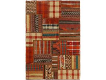 Kelim Patchwork Teppich Orientteppich 200x141 cm Handgewebt Klassisch