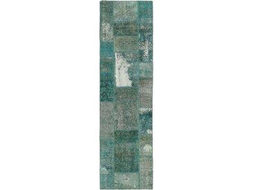 Patchwork Teppich Orientteppich 253x73 cm, Läufer Handgeknüpft Modern