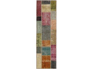 Patchwork Teppich Orientteppich 252x73 cm, Läufer Handgeknüpft Modern