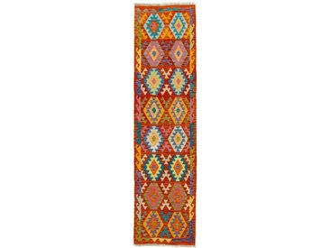 Kelim Afghan Teppich Orientteppich 292x74 cm, Läufer Handgewebt Klassisch