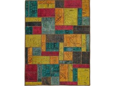 Patchwork Teppich Orientalischer Teppich 195x147 cm Handgeknüpft Modern