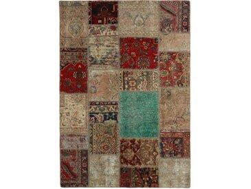 Patchwork Teppich Orientalischer Teppich 201x140 cm Handgeknüpft Modern