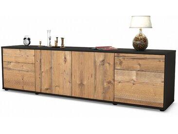 Lowboard Benedetta | Korpus Anthrazit |  Front in Pinie Holz Optik | 180x49x35cm (BxHxT)