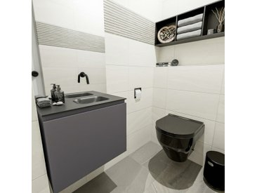 waschtisch set gäste wc OLAN 60 cm dunkelgrau FK75342821