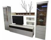 Rietberger Möbelwerke Wohnwand Vision Lack Weiß Balkeneiche Bronze mit TV-Halterung. und Beleuchtung