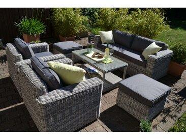 Exklusive Loungegruppe Provence mixed-grau Polster mittelgrau (Sofa, 2 Sessel, 2 Hocker und Tisch)