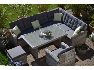Ecklounge Manhattan sand-grau- Polster grau - lange Seite LINKS (Ecksofa + Tisch + Sessel + Hocker)