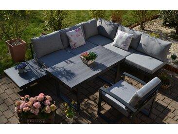 Ecklounge Santorini - Tisch höhenverstellbar + 1 Lounge Sessel - Polster hell / mittelgrau