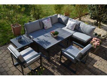 Ecklounge Santorini - Tisch höhenverstellbar + 2 Lounge Sessel - Polster hell / mittelgrau