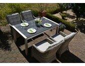 Sitzgruppe Miami 150x90cm mit 4 Sesseln Como grau Polster beige 15705