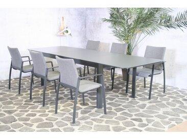Essgruppe Solero - Tisch 200/300cm x 100cm mit 6 Stapelstühlen Solero