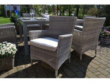 8 x Sessel Neapel sand-grau mit Polster in beige-hellgrau