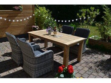 Echtholz Garnitur Oxfort 180 x 90 cm recyceltes Teak + 4 Sessel Como dunkelgrau mix