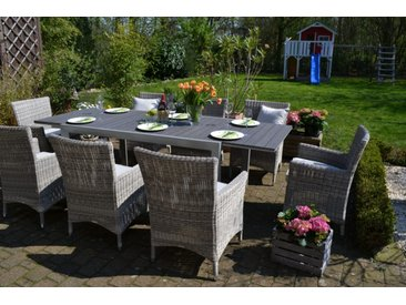 Essgruppe Neapel - Tisch verlängerbar 170/255x100cm + 8 Sessel Neapel grau Polster beige