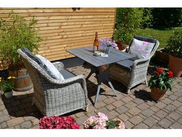 Set Jasper mit 2 Sesseln Como grau Polster grau - Tischplatte aus HPL
