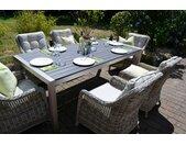 Sitzgruppe Miami 200x100cm mit 6 Sesseln Como grau Polster beige 15705