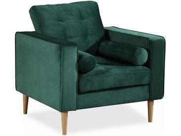 GLAMMY Sessel mit Samtbezug, Füße Buche massiv, smaragdgrün