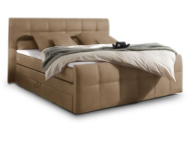 SAMARA Boxspringbett, integrierter Bettkasten, 180x200 cm, sand