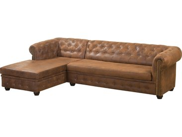 CHESTERFIELD Ecksofa mit Ottomane Gobi braun, links