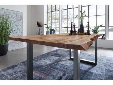 Baumkantentisch Noah Esszimmertisch 120 x 80 cm naturfarben silber