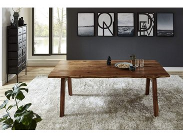 Esstisch Baumkante massiv Akazie nuss 160 x 85 A-Holzgestell nussbaumfarben NELE