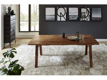 Esstisch Baumkante massiv Akazie nuss 200 x 100 A-Holzgestell nussbaumfarben NELE